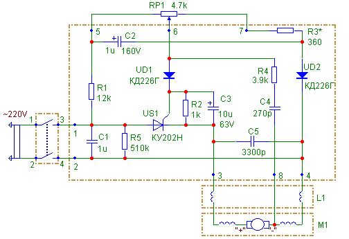 Схема електрическая принципиальная дрели ДРЭ-2 (производства завода Диффузион)