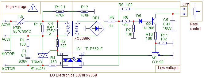 Схема регулятора мощности в пылесосе LG TurboX 1600W; 400W Suction Power; V-C4566HTU